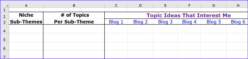 Blog Spreadsheet with Columns